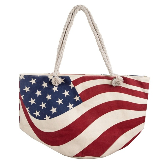 BOUTIQUE Bags   Nwt Flag Tote Bag Mem Day4th Of Julbeachpool   Poshmark d78e2a57da